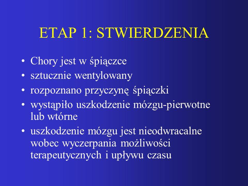 ETAP 1: STWIERDZENIA Chory jest w śpiączce sztucznie wentylowany rozpoznano przyczynę śpiączki wystąpiło uszkodzenie mózgu-pierwotne lub wtórne uszkod