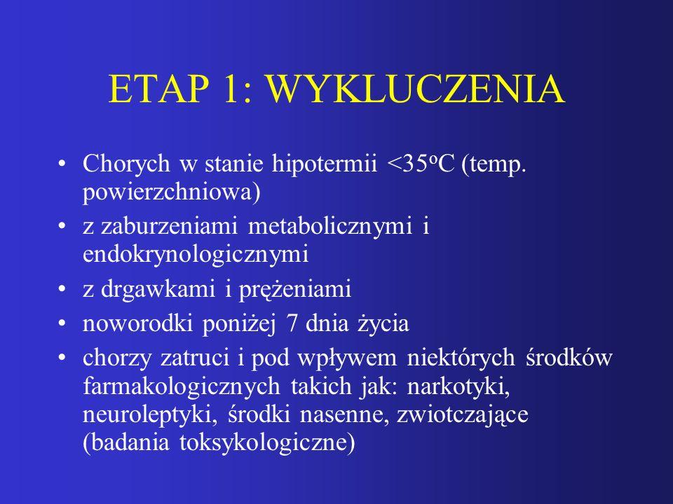 ETAP 1: WYKLUCZENIA Chorych w stanie hipotermii <35 o C (temp. powierzchniowa) z zaburzeniami metabolicznymi i endokrynologicznymi z drgawkami i pręże
