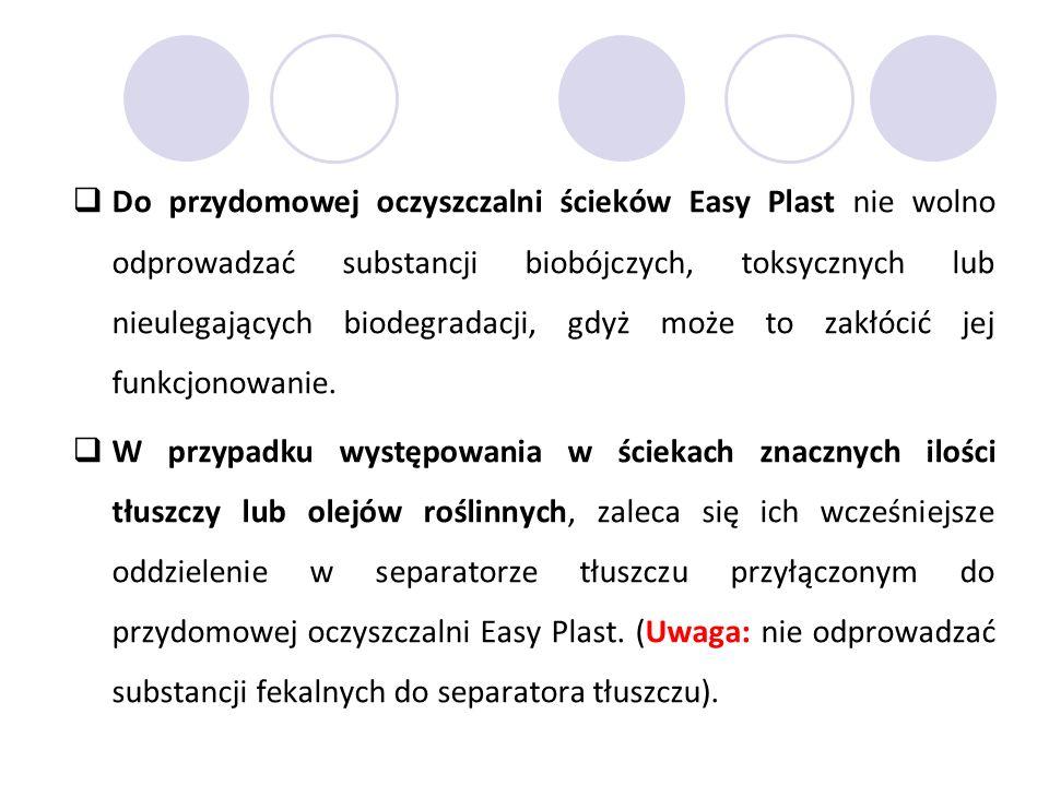  Do przydomowej oczyszczalni ścieków Easy Plast nie wolno odprowadzać substancji biobójczych, toksycznych lub nieulegających biodegradacji, gdyż może to zakłócić jej funkcjonowanie.