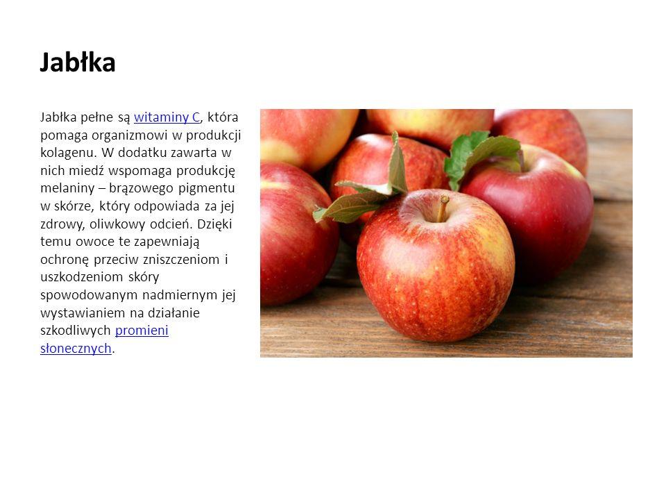 Jabłka Jabłka pełne są witaminy C, która pomaga organizmowi w produkcji kolagenu.