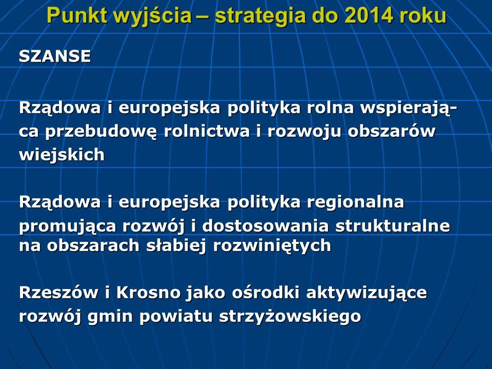 Punkt wyjścia – strategia do 2014 roku SZANSE Rządowa i europejska polityka rolna wspierają- ca przebudowę rolnictwa i rozwoju obszarów wiejskich Rząd