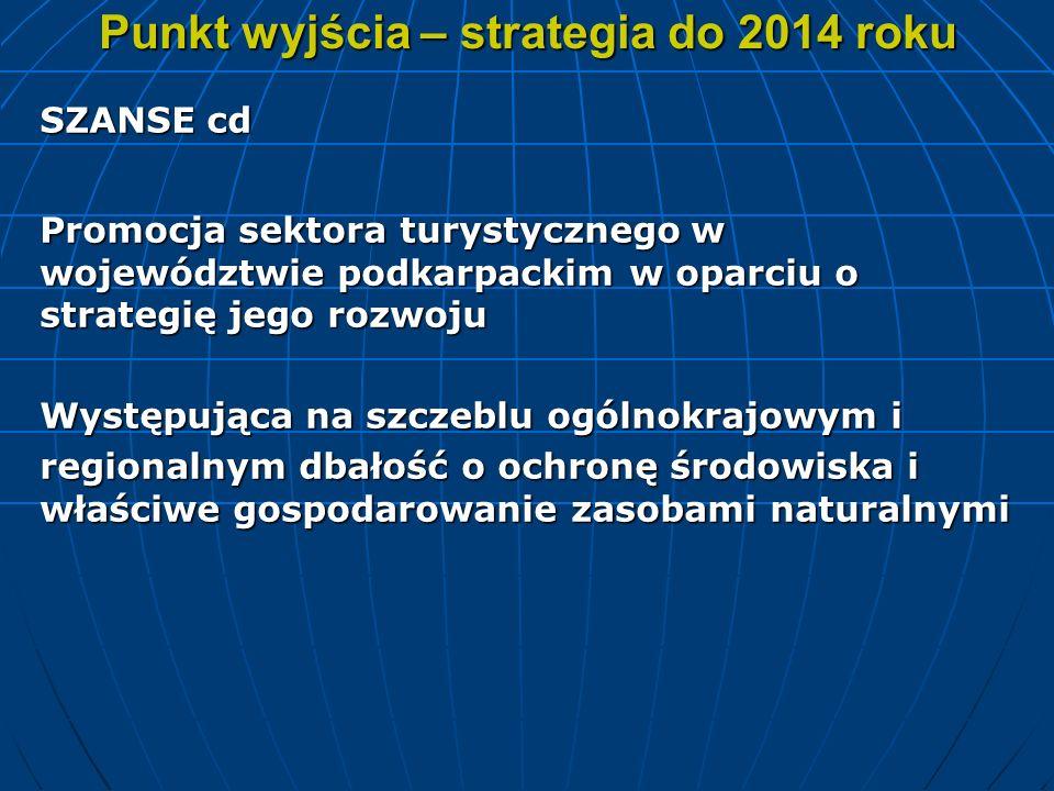 Punkt wyjścia – strategia do 2014 roku SZANSE cd Promocja sektora turystycznego w województwie podkarpackim w oparciu o strategię jego rozwoju Występu