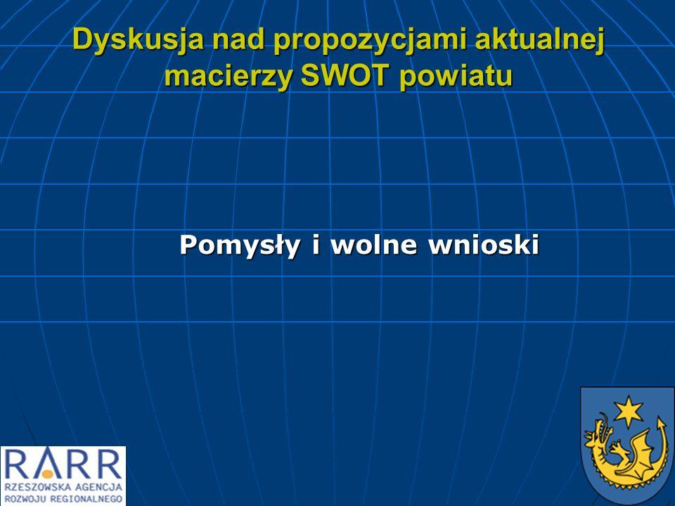 Dyskusja nad propozycjami aktualnej macierzy SWOT powiatu Pomysły i wolne wnioski Pomysły i wolne wnioski
