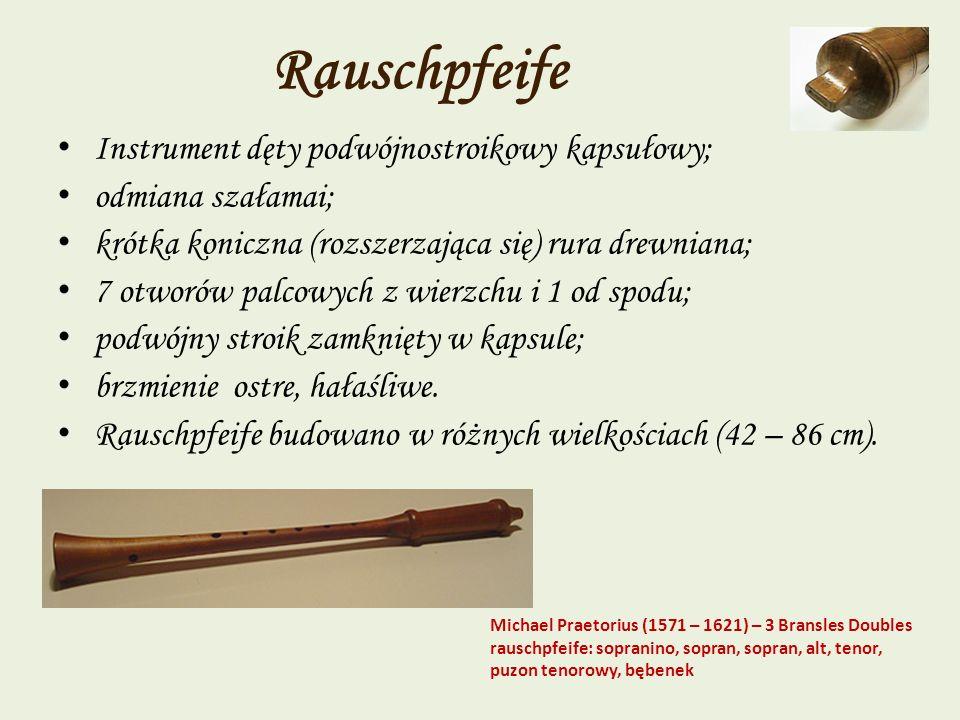 Rauschpfeife Instrument dęty podwójnostroikowy kapsułowy; odmiana szałamai; krótka koniczna (rozszerzająca się) rura drewniana; 7 otworów palcowych z