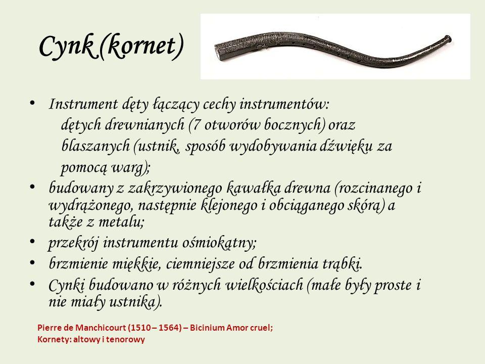 Cynk (kornet) Instrument dęty łączący cechy instrumentów: dętych drewnianych (7 otworów bocznych) oraz blaszanych (ustnik, sposób wydobywania dźwięku