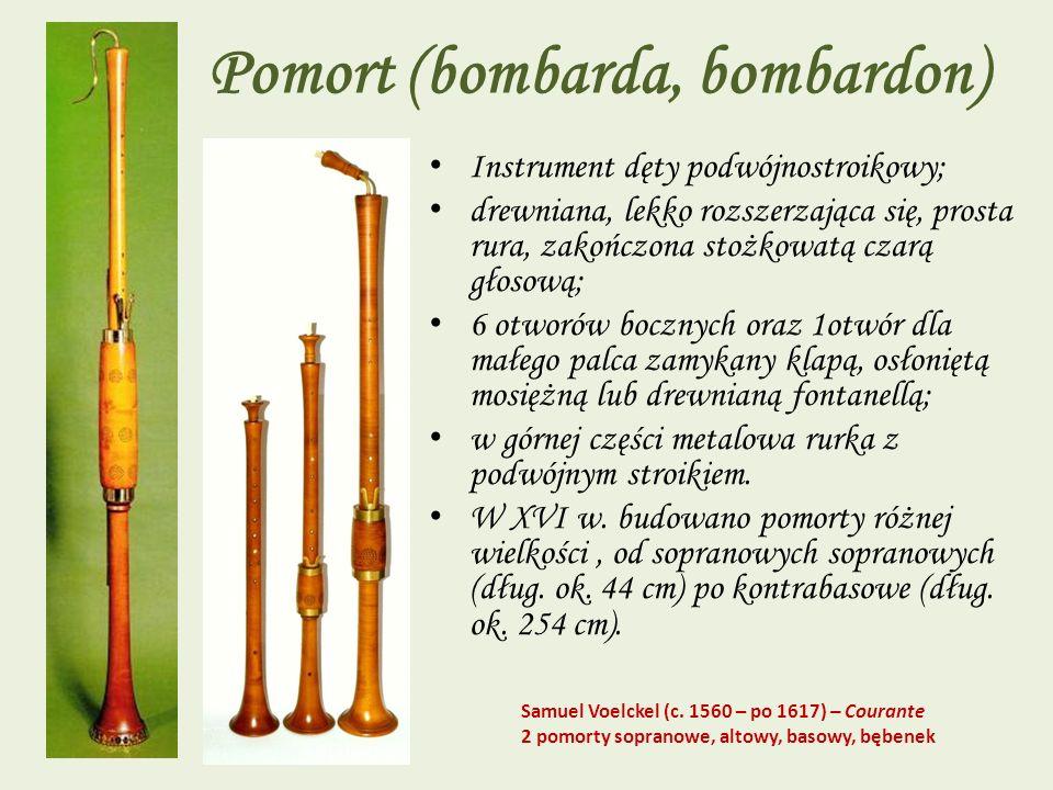 Pomort (bombarda, bombardon) Instrument dęty podwójnostroikowy; drewniana, lekko rozszerzająca się, prosta rura, zakończona stożkowatą czarą głosową;