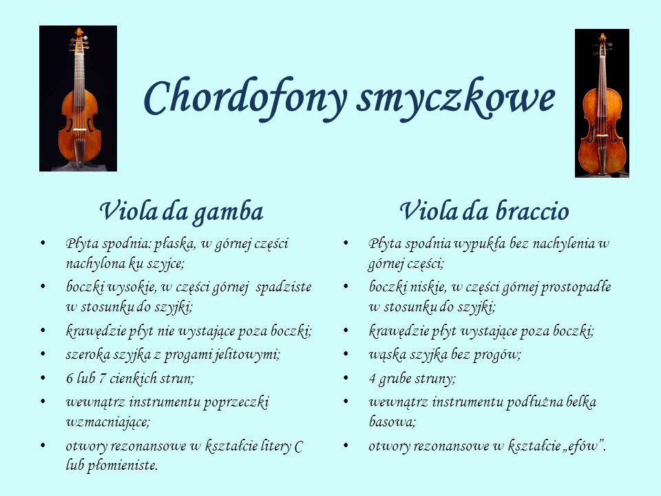 Chordofony smyczkowe Viola da gamba Płyta spodnia: płaska, w górnej części nachylona ku szyjce; boczki wysokie, w części górnej spadziste w stosunku d