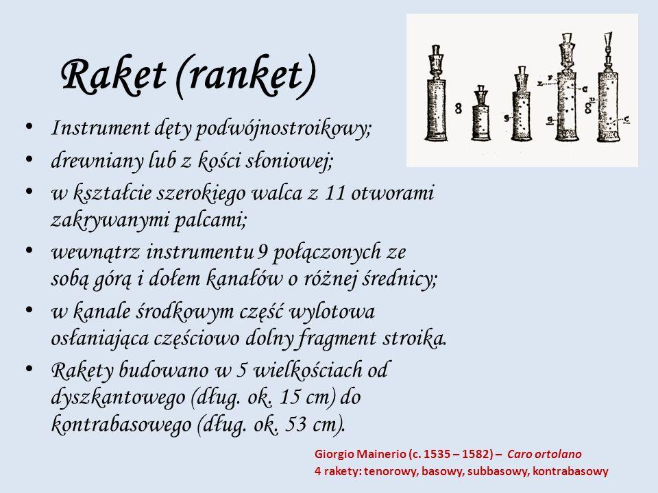 Raket (ranket) Instrument dęty podwójnostroikowy; drewniany lub z kości słoniowej; w kształcie szerokiego walca z 11 otworami zakrywanymi palcami; wew
