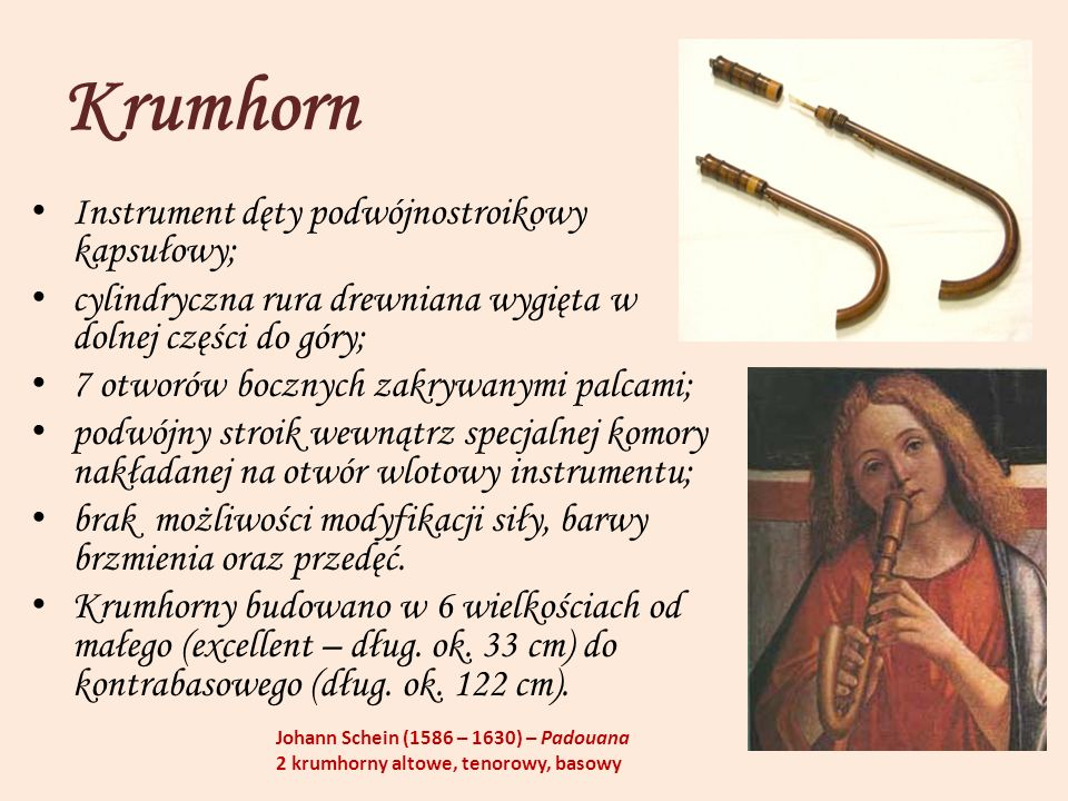 Krumhorn Instrument dęty podwójnostroikowy kapsułowy; cylindryczna rura drewniana wygięta w dolnej części do góry; 7 otworów bocznych zakrywanymi palc