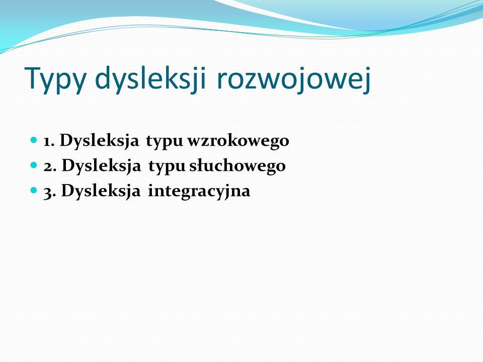 Typy dysleksji rozwojowej 1.Dysleksja typu wzrokowego 2.