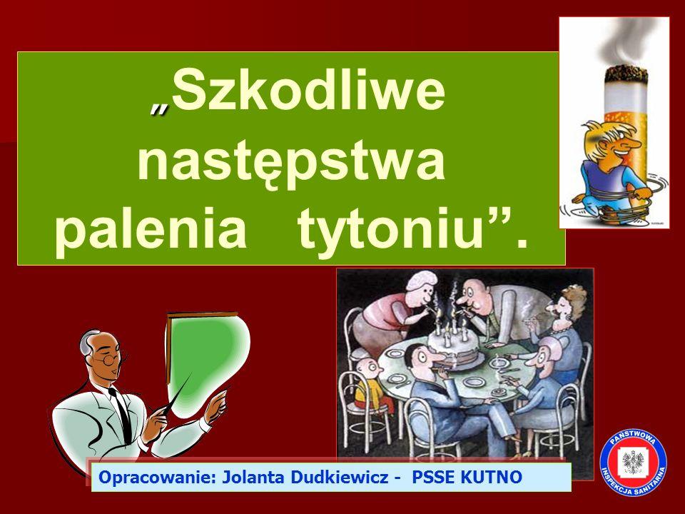 """"""" """" Szkodliwe następstwa palenia tytoniu"""". Opracowanie: Jolanta Dudkiewicz - PSSE KUTNO"""