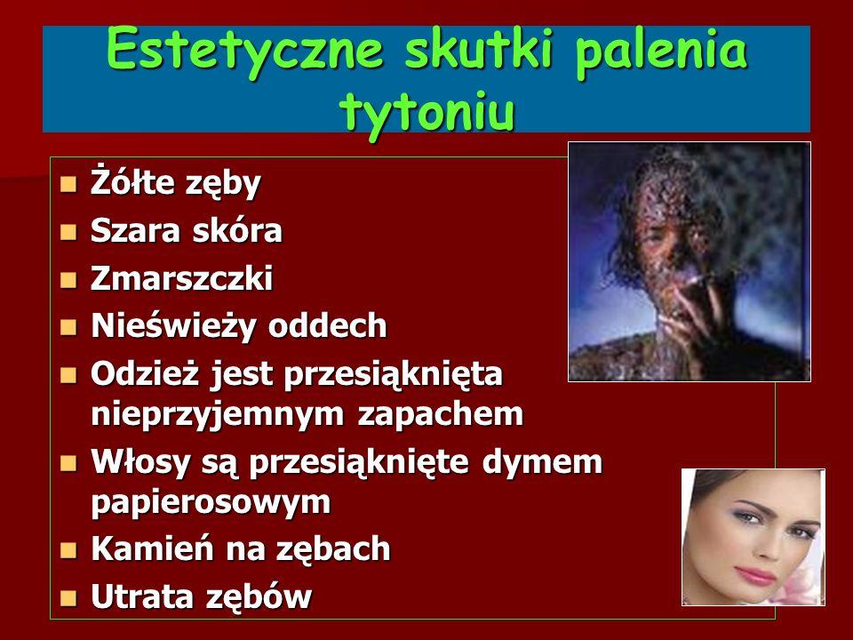 Estetyczne skutki palenia tytoniu Żółte zęby Żółte zęby Szara skóra Szara skóra Zmarszczki Zmarszczki Nieświeży oddech Nieświeży oddech Odzież jest pr