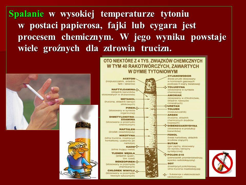 Spalanie w wysokiej temperaturze tytoniu w postaci papierosa, fajki lub cygara jest procesem chemicznym. W jego wyniku powstaje wiele groźnych dla zdr