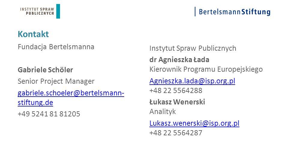 Kontakt Fundacja Bertelsmanna Gabriele Schöler Senior Project Manager gabriele.schoeler@bertelsmann- stiftung.de +49 5241 81 81205 Instytut Spraw Publicznych dr Agnieszka Łada Kierownik Programu Europejskiego Agnieszka.lada@isp.org.pl Agnieszka.lada@isp.org.pl +48 22 5564288 Łukasz Wenerski Analityk Lukasz.wenerski@isp.org.pl Lukasz.wenerski@isp.org.pl +48 22 5564287