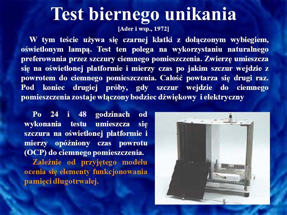 Test aktywnego unikania [Braszko i Wiśniewski, 1990] Test przeprowadza się w aparacie podzielonym na dwa pomieszczenia ścianą, która posiada przy podłodze małe okienko.