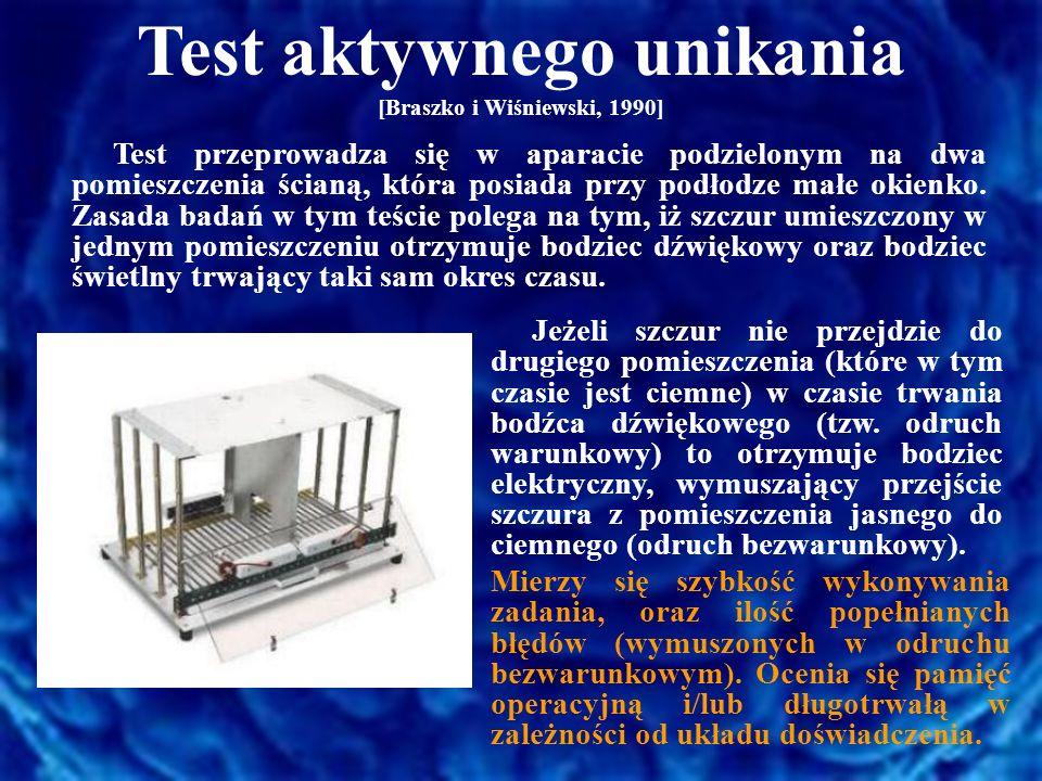 Test aktywnego unikania [Braszko i Wiśniewski, 1990] Test przeprowadza się w aparacie podzielonym na dwa pomieszczenia ścianą, która posiada przy podł