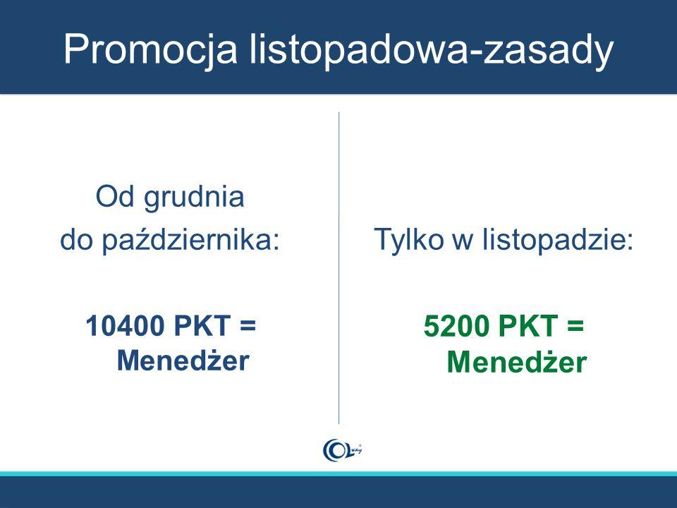 Promocja listopadowa-zasady Od grudnia do października: 10400 PKT = Menedżer Tylko w listopadzie: 5200 PKT = Menedżer