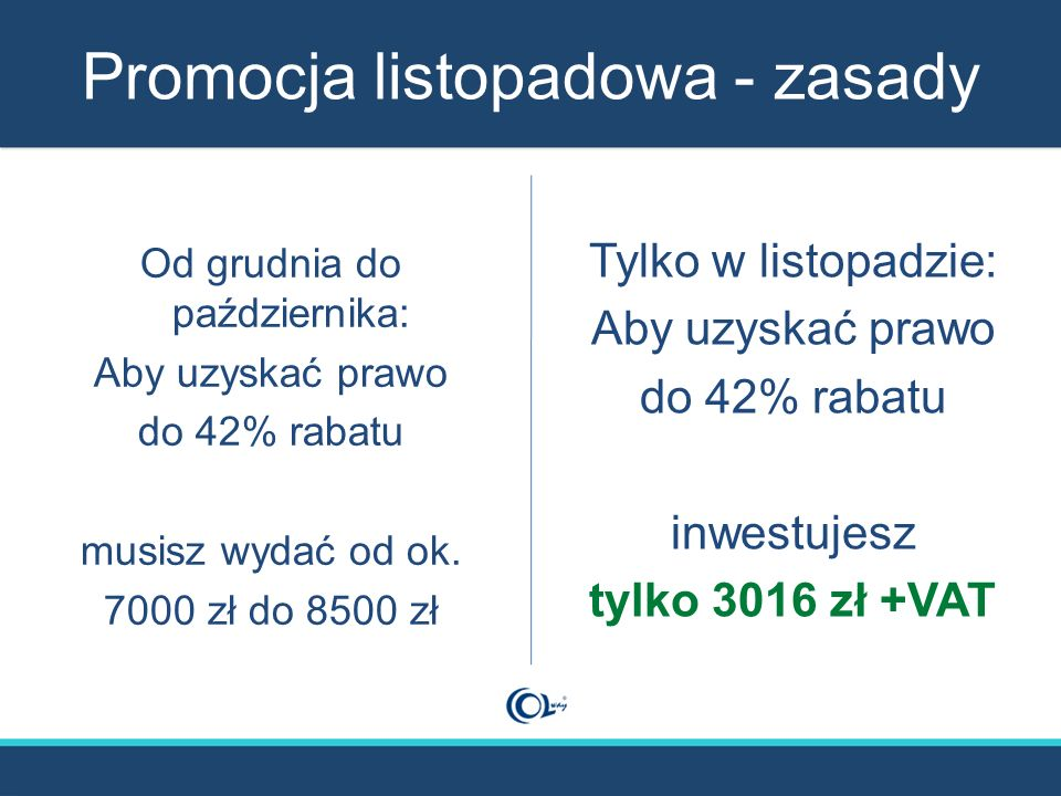 Promocja listopadowa - zasady Od grudnia do października: Aby uzyskać prawo do 42% rabatu musisz wydać od ok. 7000 zł do 8500 zł Tylko w listopadzie: