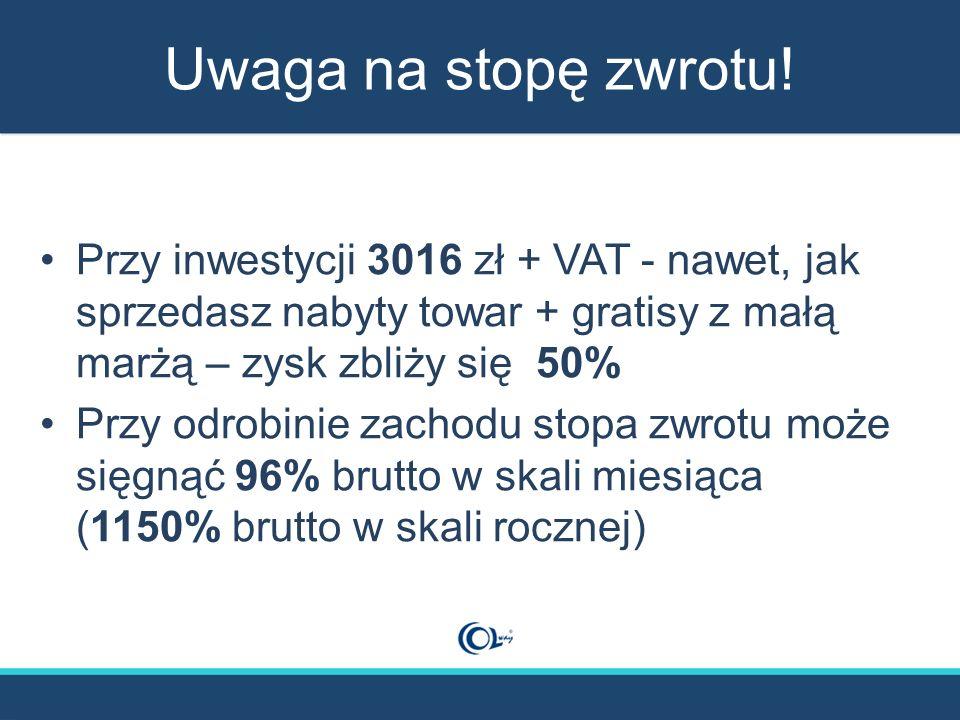 Uwaga na stopę zwrotu! Przy inwestycji 3016 zł + VAT - nawet, jak sprzedasz nabyty towar + gratisy z małą marżą – zysk zbliży się 50% Przy odrobinie z