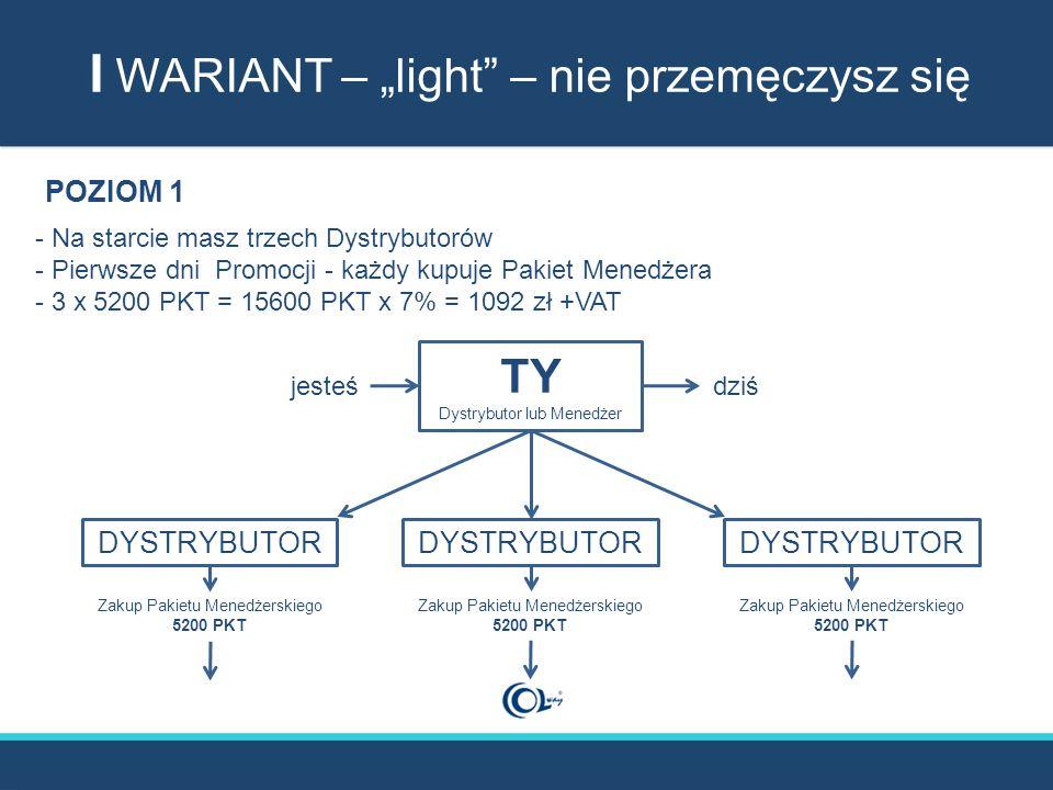 """I WARIANT – """"light – nie przemęczysz się TY Dystrybutor lub Menedżer DYSTRYBUTOR Zakup Pakietu Menedżerskiego 5200 PKT Zakup Pakietu Menedżerskiego 5200 PKT Zakup Pakietu Menedżerskiego 5200 PKT jesteśdziś POZIOM 1 - Na starcie masz trzech Dystrybutorów - Pierwsze dni Promocji - każdy kupuje Pakiet Menedżera - 3 x 5200 PKT = 15600 PKT x 7% = 1092 zł +VAT"""