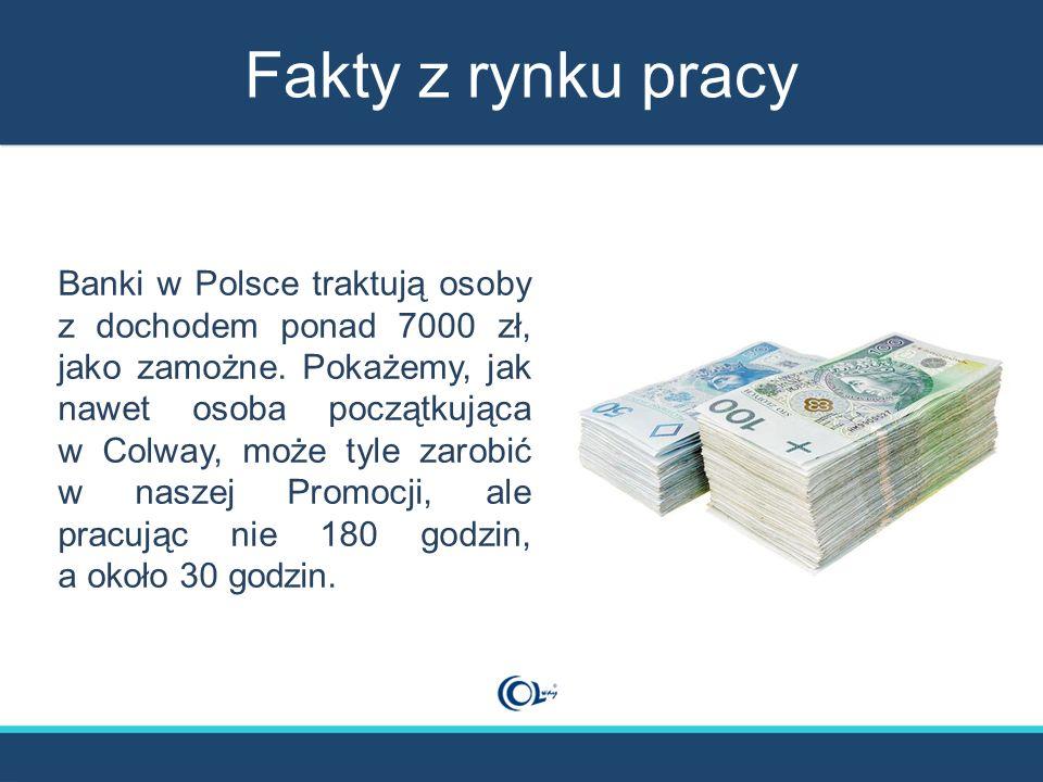 Fakty z rynku pracy Banki w Polsce traktują osoby z dochodem ponad 7000 zł, jako zamożne. Pokażemy, jak nawet osoba początkująca w Colway, może tyle z