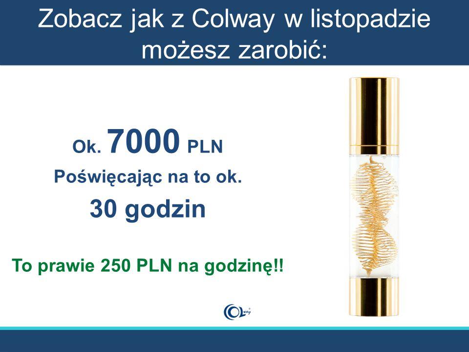 Zobacz jak z Colway w listopadzie możesz zarobić: Ok. 7000 PLN Poświęcając na to ok. 30 godzin To prawie 250 PLN na godzinę!!