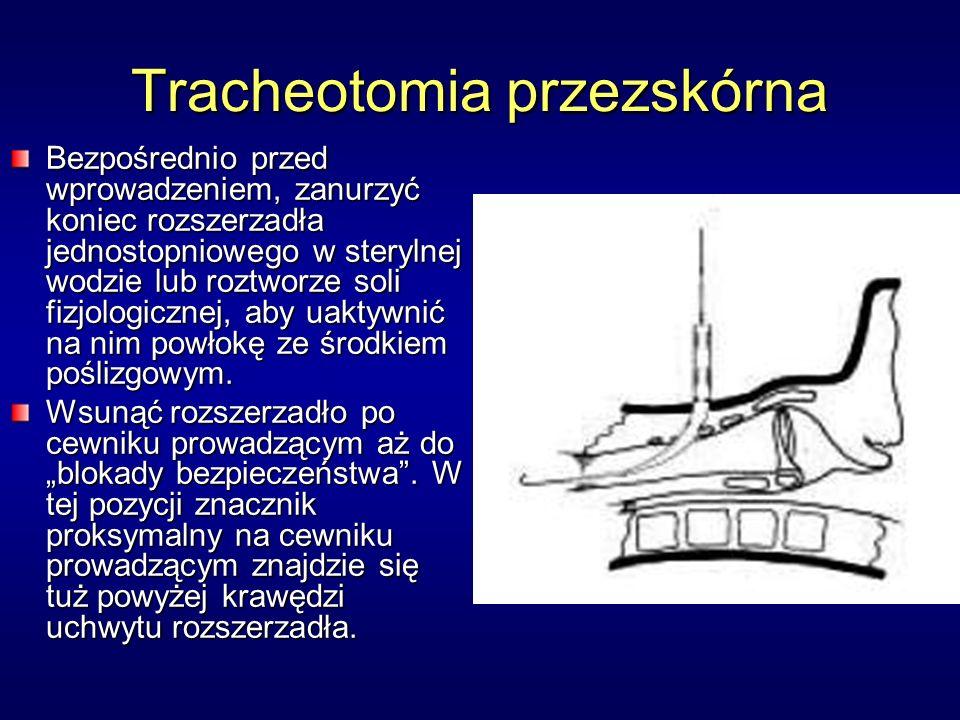 Tracheotomia przezskórna Bezpośrednio przed wprowadzeniem, zanurzyć koniec rozszerzadła jednostopniowego w sterylnej wodzie lub roztworze soli fizjologicznej, aby uaktywnić na nim powłokę ze środkiem poślizgowym.