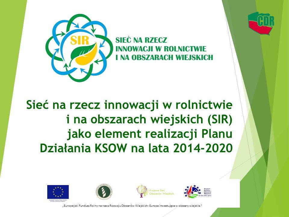 """Sieć na rzecz innowacji w rolnictwie i na obszarach wiejskich (SIR) jako element realizacji Planu Działania KSOW na lata 2014-2020 """"Europejski Fundusz"""