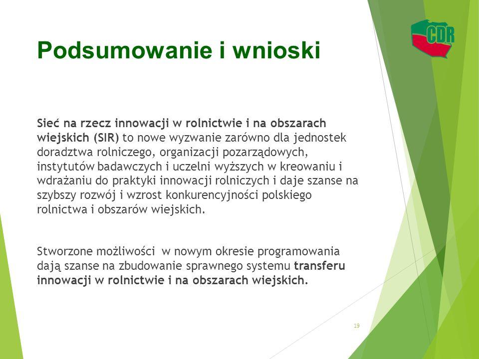 Podsumowanie i wnioski Sieć na rzecz innowacji w rolnictwie i na obszarach wiejskich (SIR) to nowe wyzwanie zarówno dla jednostek doradztwa rolniczego