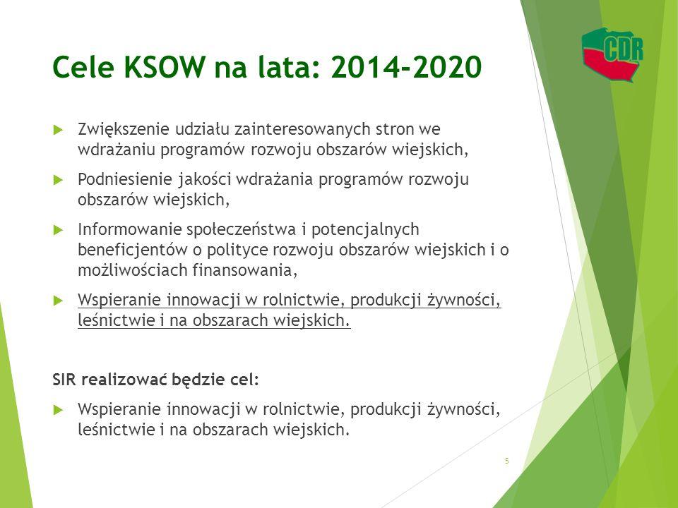Cele KSOW na lata: 2014-2020  Zwiększenie udziału zainteresowanych stron we wdrażaniu programów rozwoju obszarów wiejskich,  Podniesienie jakości wd