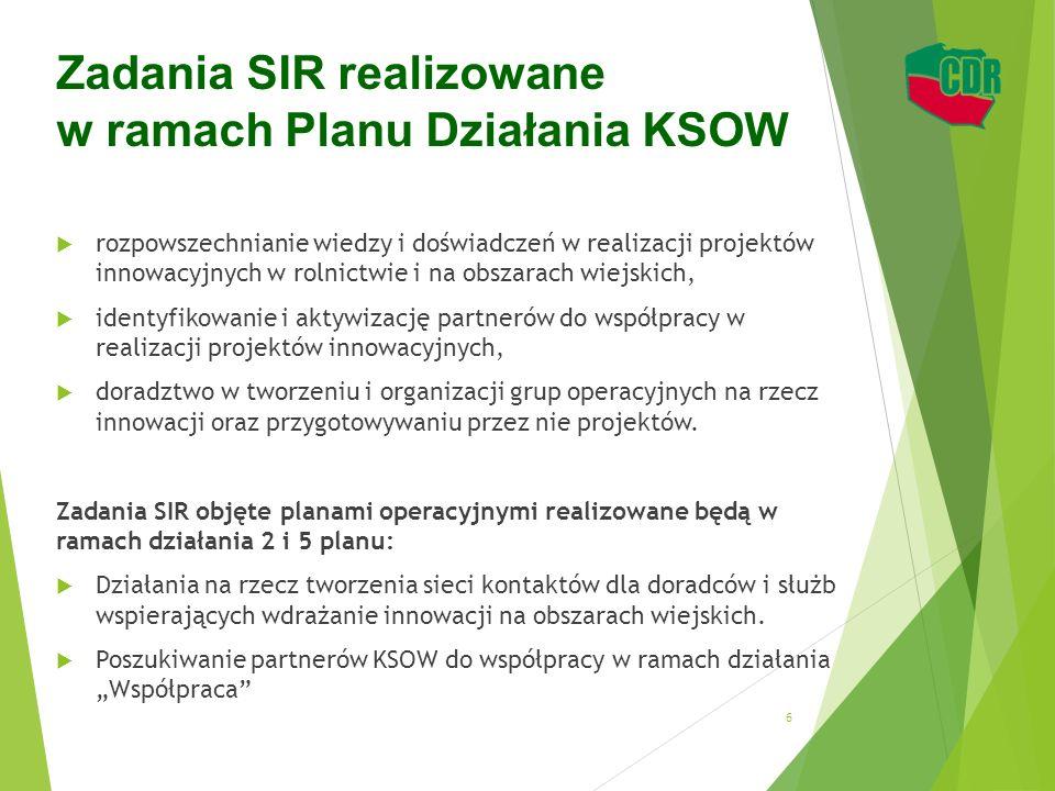 Zadania SIR realizowane w ramach Planu Działania KSOW  rozpowszechnianie wiedzy i doświadczeń w realizacji projektów innowacyjnych w rolnictwie i na