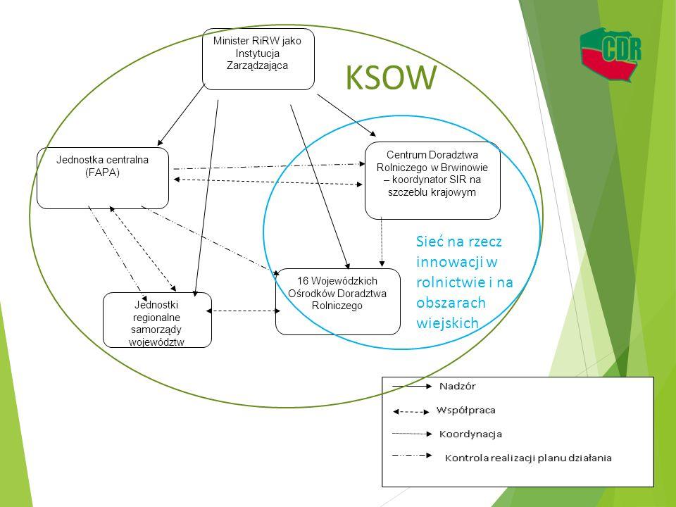 Minister RiRW jako Instytucja Zarządzająca Jednostka centralna (FAPA) Centrum Doradztwa Rolniczego w Brwinowie – koordynator SIR na szczeblu krajowym