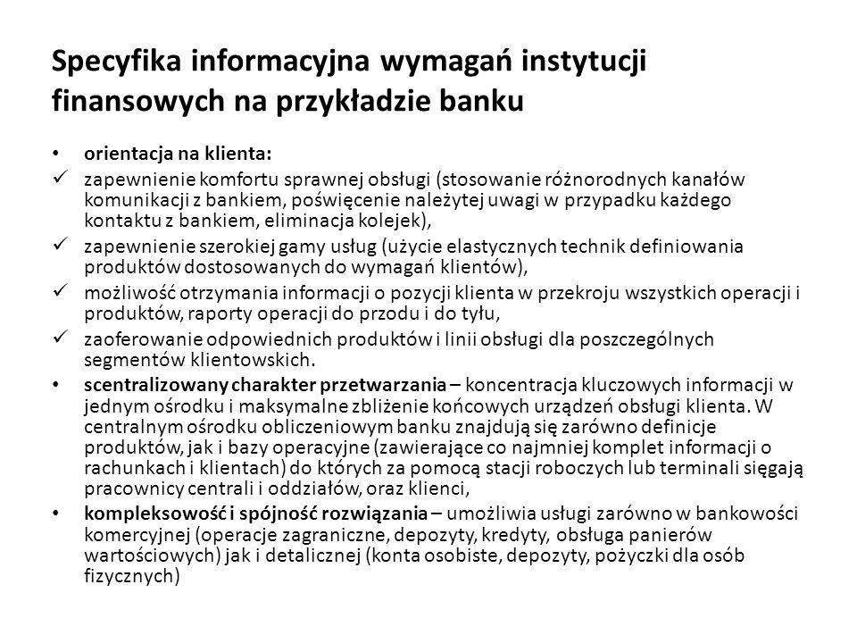 Specyfika informacyjna wymagań instytucji finansowych na przykładzie banku orientacja na klienta: zapewnienie komfortu sprawnej obsługi (stosowanie ró