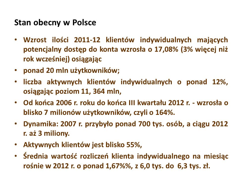 Stan obecny w Polsce Wzrost ilości 2011-12 klientów indywidualnych mających potencjalny dostęp do konta wzrosła o 17,08% (3% więcej niż rok wcześniej)