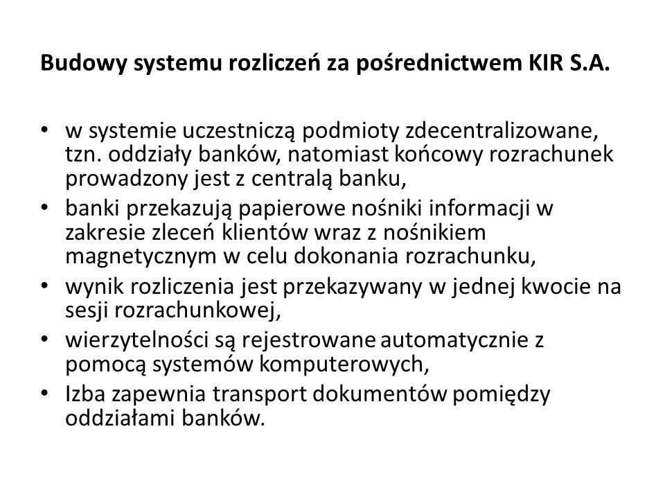 Budowy systemu rozliczeń za pośrednictwem KIR S.A. w systemie uczestniczą podmioty zdecentralizowane, tzn. oddziały banków, natomiast końcowy rozrachu