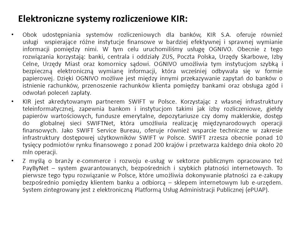Elektroniczne systemy rozliczeniowe KIR: Obok udostępniania systemów rozliczeniowych dla banków, KIR S.A. oferuje również usługi wspierające różne ins