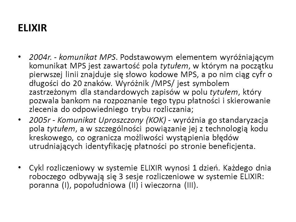 ELIXIR 2004r. - komunikat MPS. Podstawowym elementem wyróżniającym komunikat MPS jest zawartość pola tytułem, w którym na początku pierwszej linii zna
