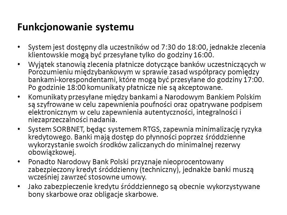 Funkcjonowanie systemu System jest dostępny dla uczestników od 7:30 do 18:00, jednakże zlecenia klientowskie mogą być przesyłane tylko do godziny 16:0