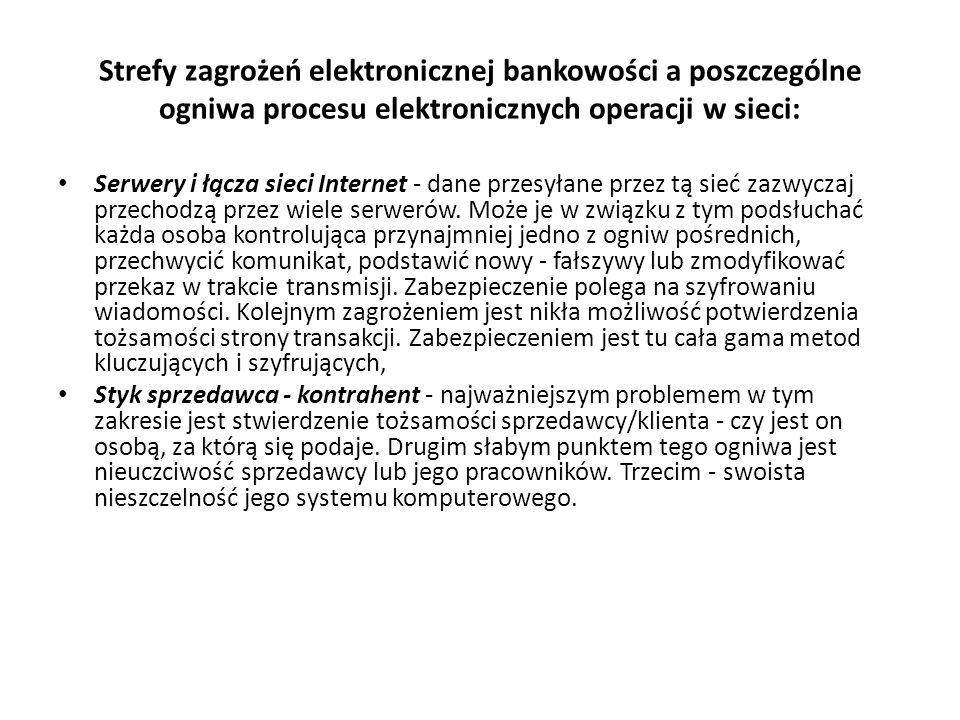 Strefy zagrożeń elektronicznej bankowości a poszczególne ogniwa procesu elektronicznych operacji w sieci: Serwery i łącza sieci Internet - dane przesy