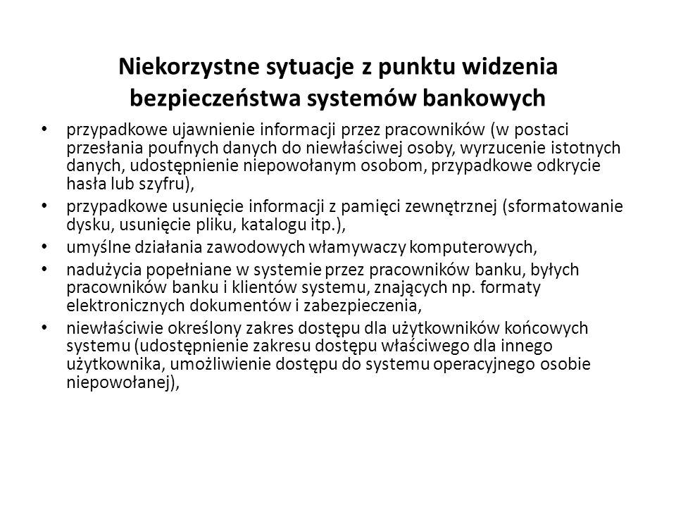 Niekorzystne sytuacje z punktu widzenia bezpieczeństwa systemów bankowych przypadkowe ujawnienie informacji przez pracowników (w postaci przesłania po