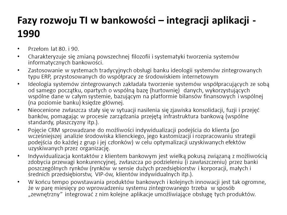Fazy rozwoju TI w bankowości – integracji aplikacji - 1990 Przełom lat 80. i 90. Charakteryzuje się zmianą powszechnej filozofii i systematyki tworzen