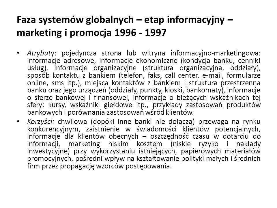 Faza systemów globalnych – etap informacyjny – marketing i promocja 1996 - 1997 Atrybuty: pojedyncza strona lub witryna informacyjno-marketingowa: inf