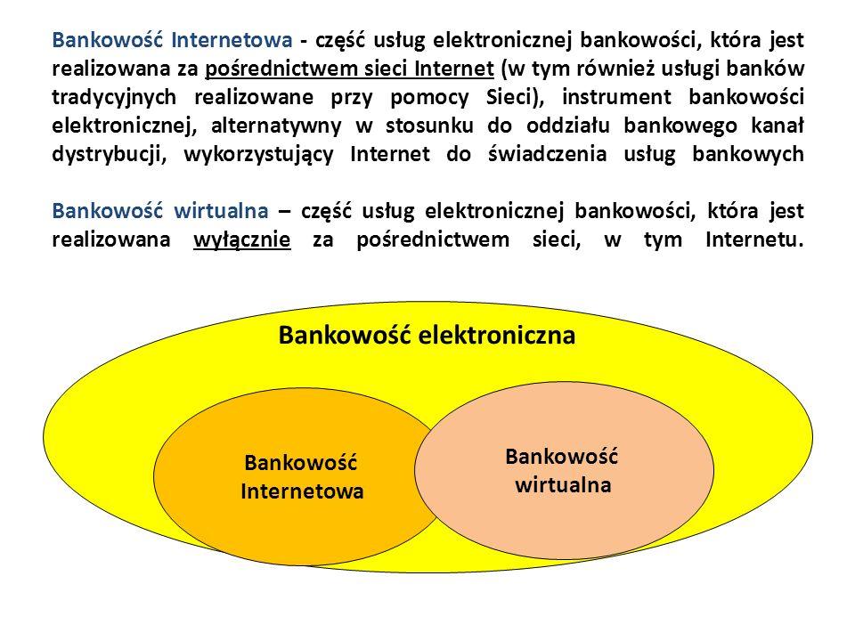Bankowość Internetowa - część usług elektronicznej bankowości, która jest realizowana za pośrednictwem sieci Internet (w tym również usługi banków tra