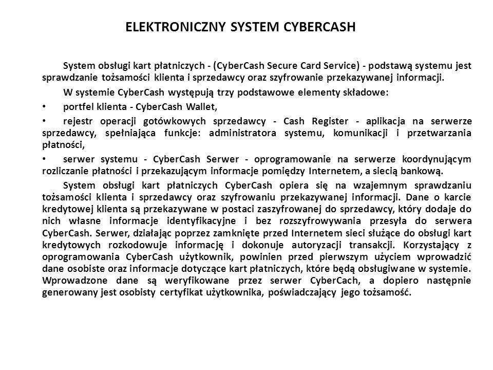 ELEKTRONICZNY SYSTEM CYBERCASH System obsługi kart płatniczych - (CyberCash Secure Card Service) - podstawą systemu jest sprawdzanie tożsamości klient