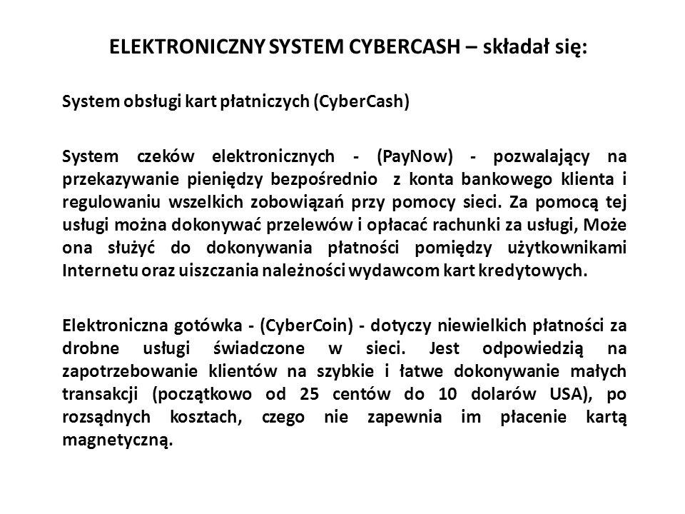 ELEKTRONICZNY SYSTEM CYBERCASH – składał się: System obsługi kart płatniczych (CyberCash) System czeków elektronicznych - (PayNow) - pozwalający na pr