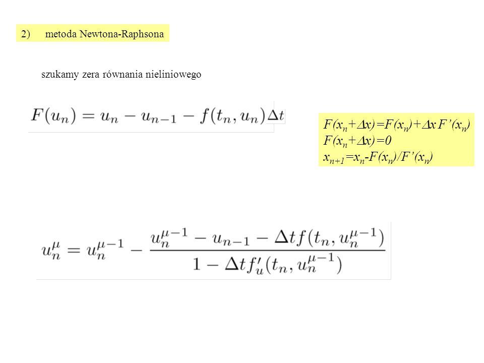 2)metoda Newtona-Raphsona szukamy zera równania nieliniowego F(x n +  x)=F(x n )+  x F'(x n ) F(x n +  x)=0 x n+1 =x n -F(x n )/F'(x n )