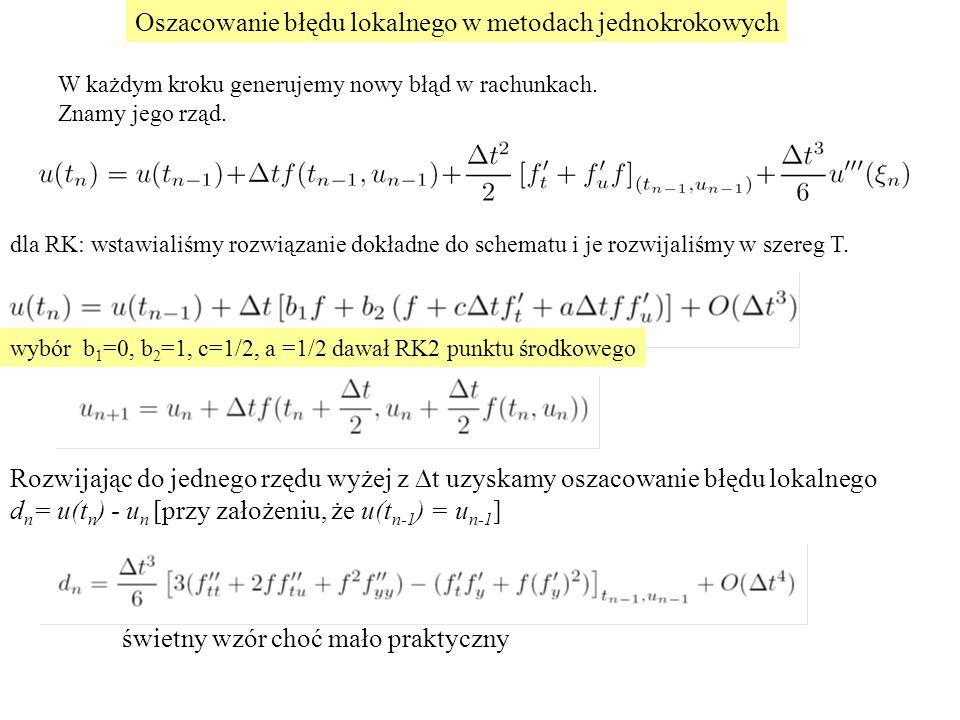 Oszacowanie błędu lokalnego w metodach jednokrokowych wybór b 1 =0, b 2 =1, c=1/2, a =1/2 dawał RK2 punktu środkowego W każdym kroku generujemy nowy b