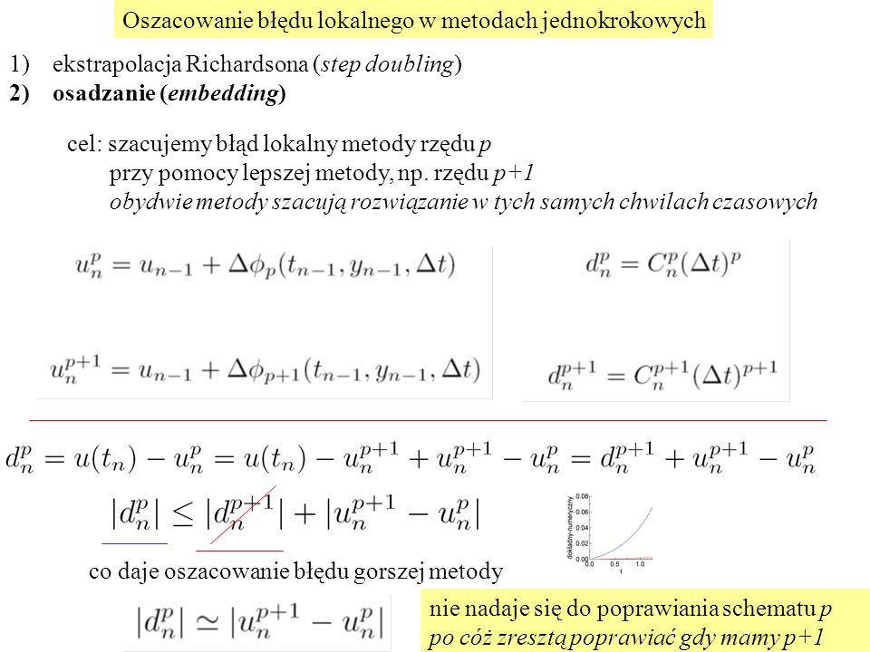 Oszacowanie błędu lokalnego w metodach jednokrokowych 1)ekstrapolacja Richardsona (step doubling) 2)osadzanie (embedding) cel: szacujemy błąd lokalny