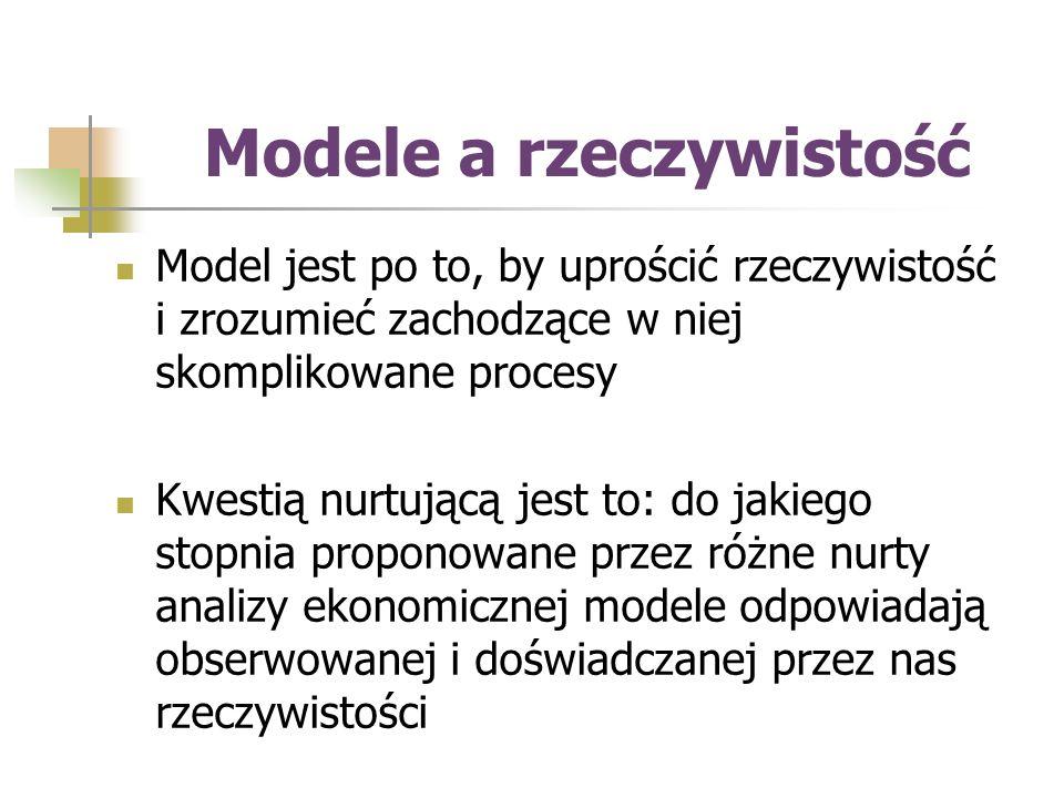 Modele a rzeczywistość Model jest po to, by uprościć rzeczywistość i zrozumieć zachodzące w niej skomplikowane procesy Kwestią nurtującą jest to: do jakiego stopnia proponowane przez różne nurty analizy ekonomicznej modele odpowiadają obserwowanej i doświadczanej przez nas rzeczywistości