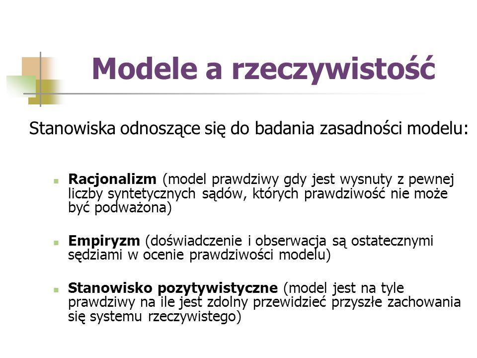 Modele a rzeczywistość Stanowiska odnoszące się do badania zasadności modelu: Racjonalizm (model prawdziwy gdy jest wysnuty z pewnej liczby syntetycznych sądów, których prawdziwość nie może być podważona) Empiryzm (doświadczenie i obserwacja są ostatecznymi sędziami w ocenie prawdziwości modelu) Stanowisko pozytywistyczne (model jest na tyle prawdziwy na ile jest zdolny przewidzieć przyszłe zachowania się systemu rzeczywistego)